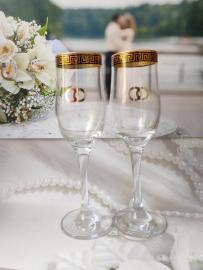 Прозрачные свадебные бокалы с кольцами 002525
