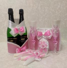 Розовый комплект из 7 элементов Эконом 100813