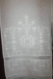 рушник белый древо лен