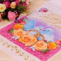 Рушник с голубями, чайными розами с объемным изображением, блестки, габардин 000737