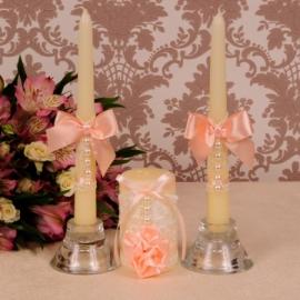 нежные персиковые свеич на свадьбу фото