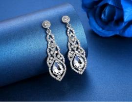 Серьги свадебные ажурные с большими камнями серебристые 100227