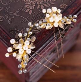 """Шпильки золотистые для свадебной прически """" Кира"""" 2 шт.  000615"""