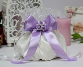 Сумочка невесты белая с сиреневым декором 000612