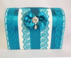 Свадебная коробка бирюзовая с бантом и кружевом  001717