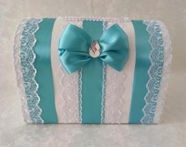 Свадебная коробка для денег тиффани с бантом и кружевом 000674