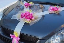 Свадебная лента на машину с розовым пионами и золотистым декором  100249