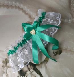 Свадебная подвязка с лентой тиффани  000645