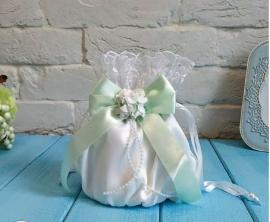 """Свадебная сумочка невесты белая с мятным бантом """"Римма"""" 102857"""