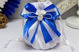 """Свадебная сумочка """"Римма"""" с синим бантом 001593"""