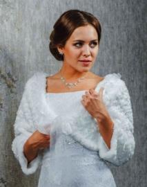 Свадебное болеро-шубка на осень.Свадебное болеро. Белый, айвори р.42,44,46,48 01581