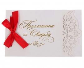 свадебное приглашение с лазерной резкой красное фото