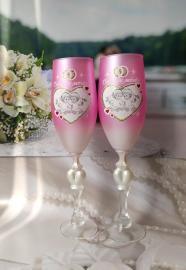 Свадебные ангелочки бокалы на свадьбу  розовые 002567