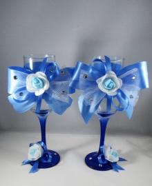 свадебные бокалы голубые купить