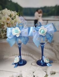 "Свадебные бокалы голубые 2шт. Коллекция "" Жанет"" 000685"