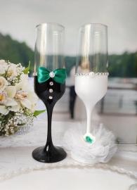 свадебные бокалы изумрудные фото
