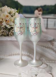 Свадебные бокалы мятные, тиффани  2шт. 002579