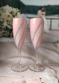 Свадебные бокалы пудровые 2шт 20см 002913
