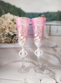 Свадебные бокалы розовые Совет да Любовь! 300301
