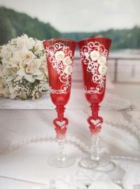 """Свадебные бокалы рубиновые """" Жених, Невеста""""  2шт 23см 02547"""