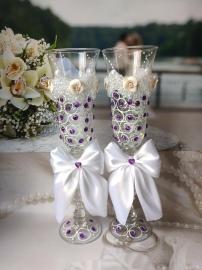 """Свадебные бокалы с фиолетовыми стразами """" Любовь"""" ручная работа 2шт. 23см 000842"""