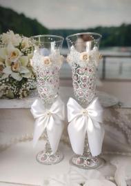 """Свадебные бокалы с розовыми стразами ручной работы """" Любовь"""" 2шт 23см.  000038"""