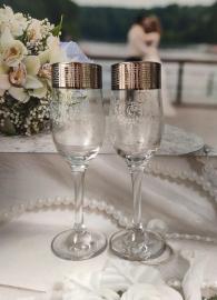 """Свадебные бокалы серебристые с кольцами """" Версаль"""" 2 шт 22см 100105"""