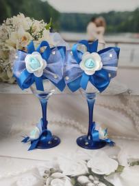 """Свадебные бокалы синие 2шт. Коллекция """" Жанет"""" 000681"""