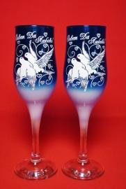 свадебные бокалы синие купить