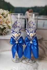 синие бокалы ручной работы на свадьбу