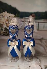 свадебные бокалы сний айвори с сердцами фото