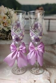 """Свадебные бокалы сиреневые """"Веточки"""" 2 шт 23см 002553"""