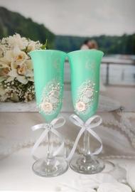 бокалы на свадьбу тиффани,зеленые фото