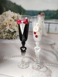 """Свадебные бокалы Жених и Невеста """" Классика"""" бордовые. марсала 2 шт 23см 002514"""