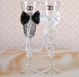 свадебные бокалы жених и невеста с бантиками