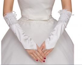 Свадебные перчатки трикотажные до локтя 001681