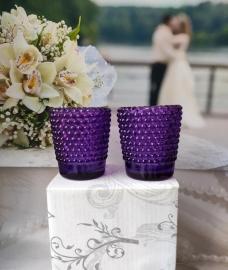 Свадебные подсвечники фиолетовые под чайные свечи 2 шт.000632