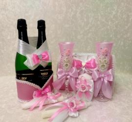 Свадебные принадлежности 7 элементов розовые СуперЭконом 200086