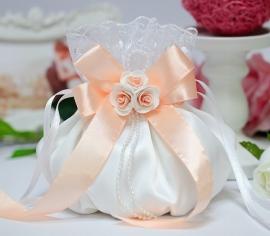 """Свадебные сумочки для невесты. Сумочка белая с персиковым декором """"Милашка""""002861"""