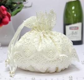 Свадебные сумочки невесты с кружевом Айвори, молочный. 002862