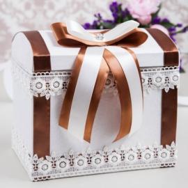 коричневй, шоколадный сундучок для денег на свадьбу фото