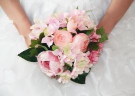 """Свадебный букет-дублер розовый пионы, гортензии, ранункулюсы """" Айседора"""" 002504"""