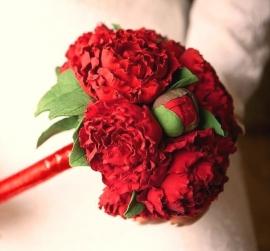 """Свадебный букет из пионов - дублер темно-красные пионы  """" Красное вино"""" 000163"""