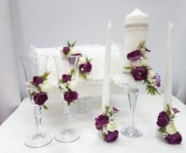 """Свадебный набор фиолетовый """"PIONY""""  6 предметов 001284"""