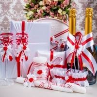 """Свадебный набор красно-белый """"Розочки"""" 11 предметов 100108"""