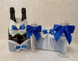 Свадебный набор сине-голубой 4 элемента СуперЭконом 001960