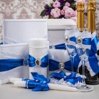 """Свадебный набор """" Строгость"""" синий 10 предметов 100138"""