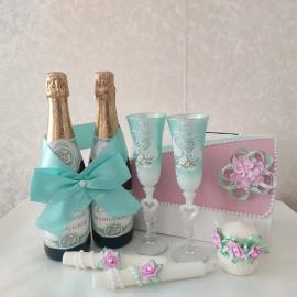 тффани розовый комплект свадебных аксесусаров фото