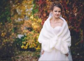 Свадебный палантин айвори, осенне-весенний с великолепными краями 000987