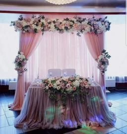 пудровый президиум на свадьбу для молодоженов